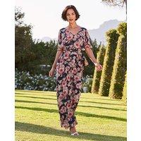 Navy Floral Print Maxi Dress