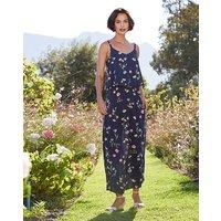 Navy Floral Print Layer Maxi Dress