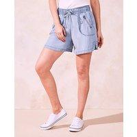 Pull-On Lyocel Denim Shorts