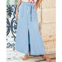 Soft Lyocel Denim Split Front Maxi skirt