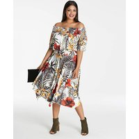 Tropical Print Bardot Dress