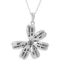 Silver He Loves Me Not Flower Pendant