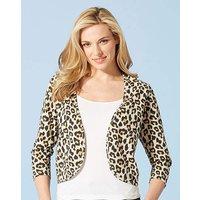 Leopard Print 3/4 Sleeve Jersey Shrug