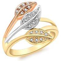 9Ct Gold Leaf Shaped Diamond Ring
