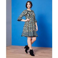 Simply Be Lace Trim Patchwork Print Dres