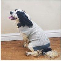 Grey Knit/Fur Collar Sweater Xlarge 60cm