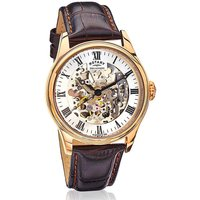 Rotary Skeleton Dial Leather Strap Watch