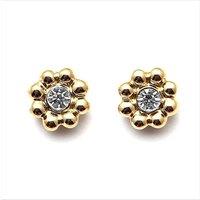 Gold Plated Crystal Flower Stud Earrings