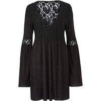 Black Lace Up Plunge Top