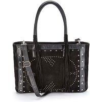 Leather Suede Studded Tote Bag