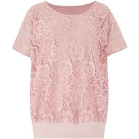 Lace Jersey Top with Bubble Hem