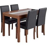 Oakham Glass Panel Table 4 Mia Chairs