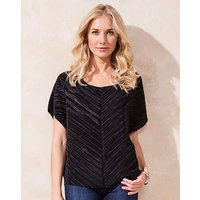 Black Short Sleeve Plisse Shell Top