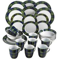 Hamilton 32-Piece Dinner Set Blue Tartan