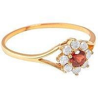 9ct Yellow Gold Diamond and Garnet Ring