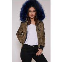 Lara Blue Premium Faux Fur Lined Crop Parka, Blue