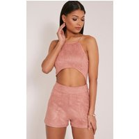 Adia Rose Suede Cut Out Playsuit, Rose