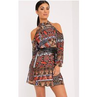 PRETTYLITTLETHING | Holly Brown Cold Shoulder Snake Print Swing Dress, Brown | Goxip