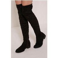 PRETTYLITTLETHING   Elley Black Faux Suede Lace Tie Knee Boots, Black   Goxip