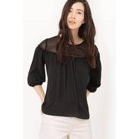 Blouse with 3/4 Length Sleeves and Transparent Inset