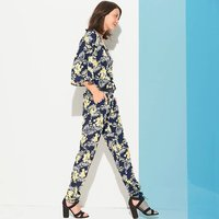 Floral Print Jumpsuit with Batwing Sleeves