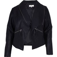 Sophisticated Faux Leather Open Jacket