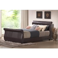 Winchester Faux Leather Sleigh Bed, King Size, Faux Leather - Black