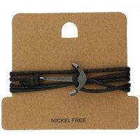 Bella Mia Mens Black Cord Black Anchor Wrap Bracelet