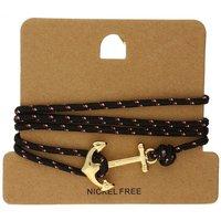 Bella Mia Mens Black Speckle Wrap Gold Anchor Bracelet