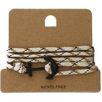 Bella Mia Mens Beige and Brown Wrap Black Anchor Bracelet