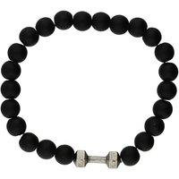 Bella Mia Mens Black Onyx Matt Beaded Bracelet