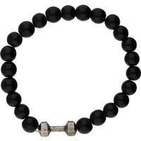 Bella Mia Mens Black Shiny Onyx Beaded Bracelet