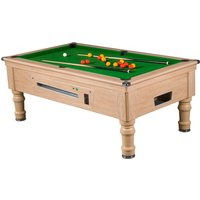 Mightymast 6ft Prince Slate Bed English Pool Table - Green, Oak