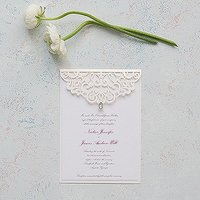Pearl Romance Laser Embossed Invitations with Personalisation