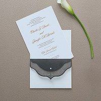 High Style in Black with Crystal Laser Embossed Invitations with Personalisation