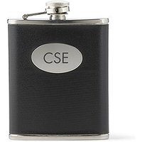 Engraved Black and Silver Mens Hip Flask