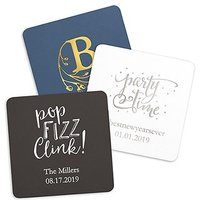Personalised Paper Coasters - Square - Black