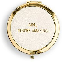 Faux Leather Compact Mirror - Youre Amazing Emboss - Silver Pink