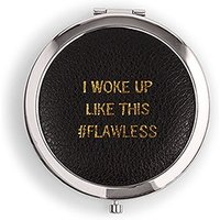 Faux Leather Compact Mirror - #Flawless Emboss - Silver Black
