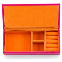 Vegan Leather Jewellery Box - Pink with Orange