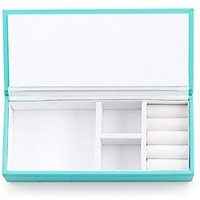 Vegan Leather Jewellery Box - Spa Blue with White