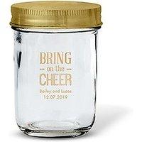 Glass Mason Jar with Gold Lid Favour - Gold