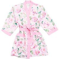 Pink Watercolour Floral Silky Kimono Robe on Pink - Large