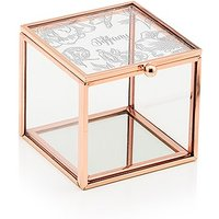 Small Glass Jewellery Box with Rose Gold Edges - Modern Floral Etching