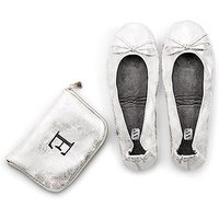 Foldable Flats Pocket Shoes - Silver - Small