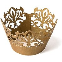 Classic Damask Filigree Paper Cupcake Wrappers - Silver Grey Shimmer