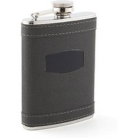 Charcoal Grey and Stainless Steel Hip Flask