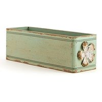Vintage Inspired Ornate Box with Decorative Pull - Aged Green