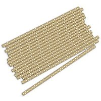 \Sippers\ Metallic Print with Small White Polka Dot Paper Straws - Gold