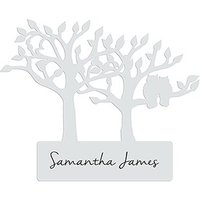 Laser Expressions Tree Silhouette With Owls Laser Cut Glass Card - White